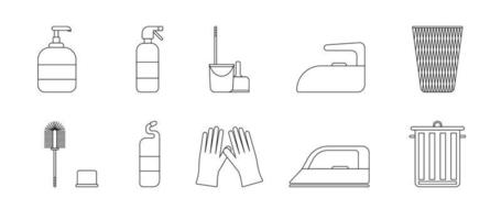 A set of cleaning equipment - buckets, brushes, gels, gloves. Black and white icon. Vector Illustration