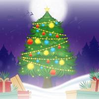Christmas Tree with Gift Box Concept vector