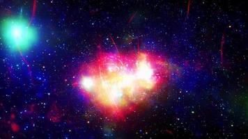 voo espacial em um campo de estrelas realista galáxia fundo de animação da Via Láctea video
