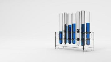Group of test tube with blue solution sample in laboratory on white background. Science researching and nanotechnology biology concept. Selective focus on liquid water drop. 3D illustration rendering photo