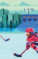Woman Play Ice Hockey in Stadium vector