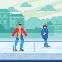 Man and Woman Play Ice Skating Concept vector