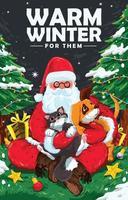 Santa Paw Poster Concept vector