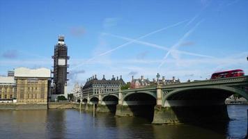timelapse london med big ben och thames river i Storbritannien video