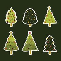 Sticker Label Christmas Tree Collection vector