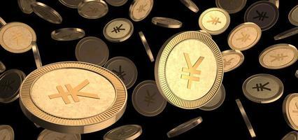 yenes o monedas de oro yuanes. pilas de monedas digitales. foto