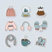 Cute Hand Drawn Winter Sticker Collection vector