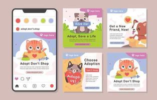 Pet Adoption Social Media Post Template vector