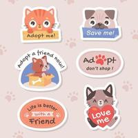 Pet Adoption Campaign Stickers vector