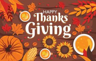 Thanksgiving Background Concept with Harvested Produce and Sunflower vector