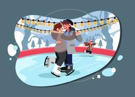 Ice Skating Couple on Frozen Lake vector