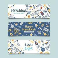 Set of Hanukkah Banner vector