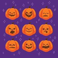 Jack O Lantern Pumpkin with Different Facial Expression vector