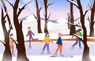 Ice Skating Outdoor Background vector