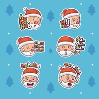 Santa Expression Sticker Set vector