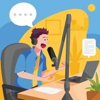 hombre haciendo podcast en solitario vector