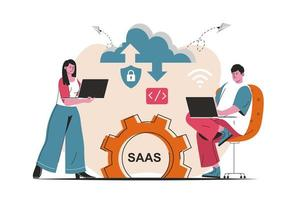 SAAS concept isolated. Candidate Users buy software licenses, use cloud technologies. People scene in flat cartoon design. Vector illustration for blogging, website, mobile app, promotional materials.