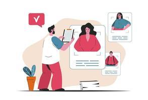 concepto de agencia de contratación aislado. Candidato currículum de búsqueda, recursos humanos. escena de personas en diseño plano de dibujos animados. ilustración vectorial para blogs, sitios web, aplicaciones móviles, materiales promocionales. vector