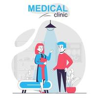 clínica médica aislado concepto de dibujos animados. hombre en terapeuta de recepción, médico hablando paciente, escena de personas en diseño plano. ilustración vectorial para blogs, sitios web, aplicaciones móviles, materiales promocionales. vector