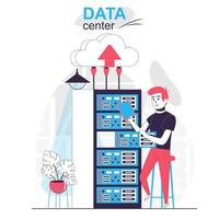 Data center isolated cartoon concept. Engineer work at server rack room, cloud technology people scene in flat design. Vector illustration for blogging, website, mobile app, promotional materials.
