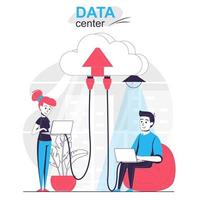 Data center isolated cartoon concept. Users connection to cloud storage and use databases people scene in flat design. Vector illustration for blogging, website, mobile app, promotional materials.