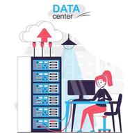 Data center isolated cartoon concept. Woman working at server rack room, networking hardware people scene in flat design. Vector illustration for blogging, website, mobile app, promotional materials.