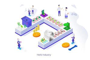 isometric of Herb Industry factory by processing plants, vegetables into extracts and producing drugs or medicine for medical health. Scientists Designing to Operate AI Robots to Control Product vector