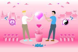 los hombres blancos y los asiáticos hablan entre ellos para hacer amigos, amar y respetar. el símbolo de la paz y el yin yang en tono rosa. vector