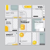 alimentación de redes sociales, plantilla vectorial para publicaciones e historias, 9 plantillas para marketing edia social vector
