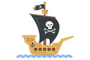 juguete infantil barco pirata hecho en casa. vector