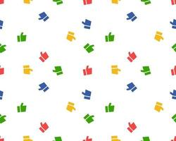 Seamless pattern made of flat thumbs up symbols. Colourful background. Abstract networks concept for social media banners vector