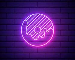 Neon Donut sign. Bright glowing Donut emblem on dark brick wall background. Neon signboard. Vector design element.
