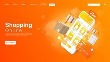 Shopping Online on Website or Mobile Application. Landing Page Template. Vector EPS 10