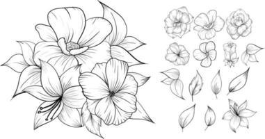 line art flower bouquet set vector