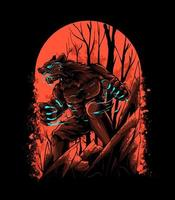 angry werewolf on red blood moon Illustration vector
