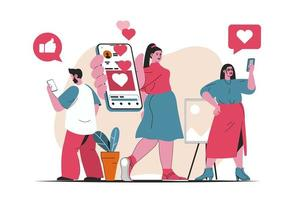 Social network concept isolated. Social media users chat, like, post in mobile app. People scene in flat cartoon design. Vector illustration for blogging, website, mobile app, promotional materials.