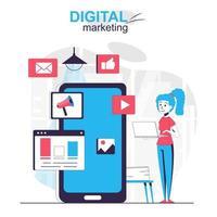Digital marketing isolated cartoon concept. Marketer makes online promotion in social network people scene in flat design. Vector illustration for blogging, website, mobile app, promotional materials.