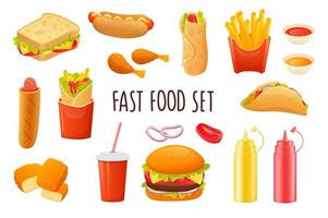 Fast food icon set in realistic 3d design. Bundle of sandwich, hot dog, fries, tacos, soda, hamburger, sauces and other. Unhealthy menu collection. Vector illustration isolated on white background