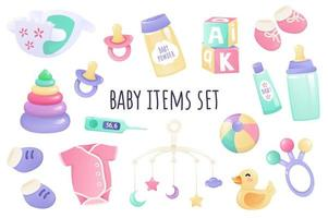 Baby items icon set in realistic 3d design. Bundle of diaper, pacifier, powder, cream, bottle, clothes, toys and other. Newborn accessory collection. Vector illustration isolated on white background