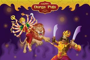 Durga Puja greetings with goddess attacking the Giant vector