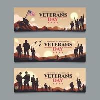 Set of Veterans Day Banner vector