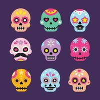 Colorful Sugar Skull Collection vector