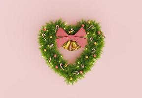 corona de navidad en forma de corazón foto