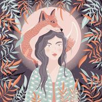 Portrait of a woman and a fox on her shoulder. Night scene with moon and stars. Wild animal and girl in nature. Colorful hand drawn vector illustration.