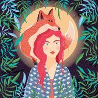 Portrait of a woman and a red fox on her shoulder. Night scene with moon and stars. Wild animal and girl in nature. Colorful hand drawn vector illustration.