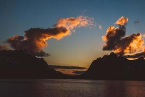 Sunset over the mountains by the sea photo