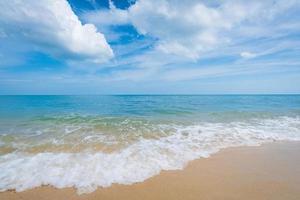 Beautiful tropical beach and blue sky photo