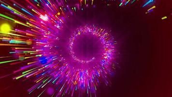 Círculo vermelho neon animação em loop de fundo video