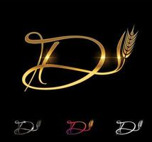 Golden Wheat and Grain Monogram Initial Letter D vector