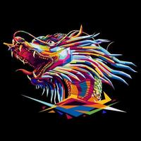 Chinese dragon pop art illustration vector